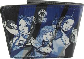 Yaya Han Poses Blue Stripes Wallet