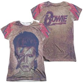 David Bowie Glam (Front Back Print) Short Sleeve Junior Poly Crew T-Shirt