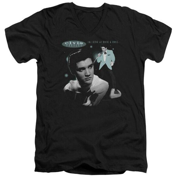 Elvis Teal Portrait Short Sleeve Adult V Neck T-Shirt