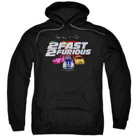 2 FAST 2 FURIOUS LOGO - ADULT PULL-OVER HOODIE - Black
