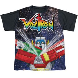 Voltron Space Defender Short Sleeve Youth Front Black Back T-Shirt