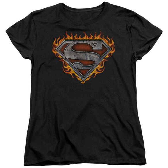 Superman Iron Fire Shield Short Sleeve Womens Tee T-Shirt