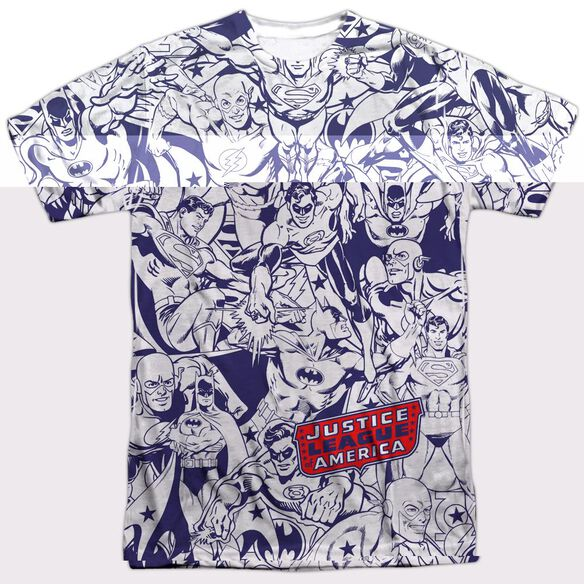 DC JUSTICE ALL AROUND - S/S ADULT 100% POLY CREW - WHITE T-Shirt