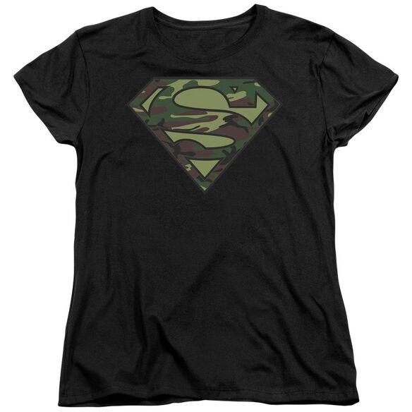 Superman Camo Logo Short Sleeve Womens Tee T-Shirt