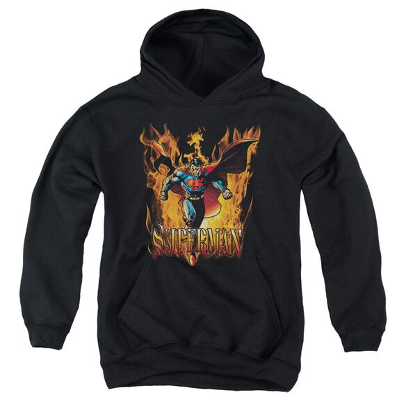 Superman Through The Fire Youth Pull Over Hoodie