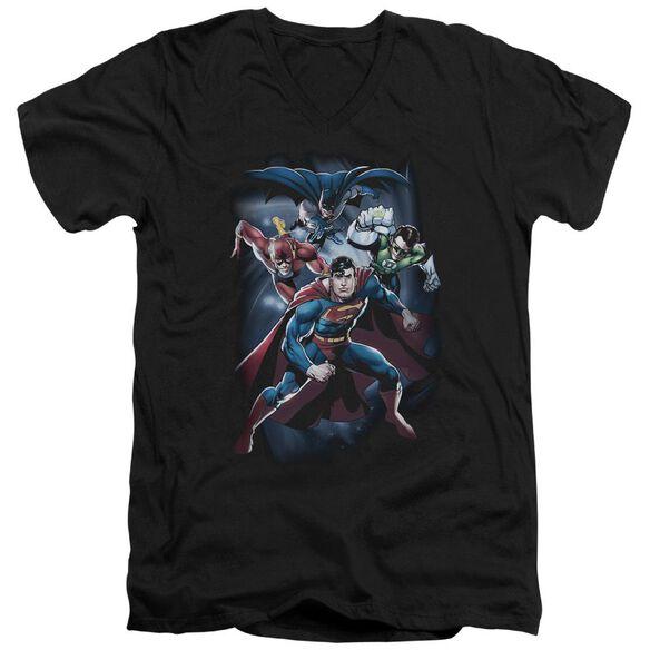 Jla Cosmic Crew Short Sleeve Adult V Neck T-Shirt