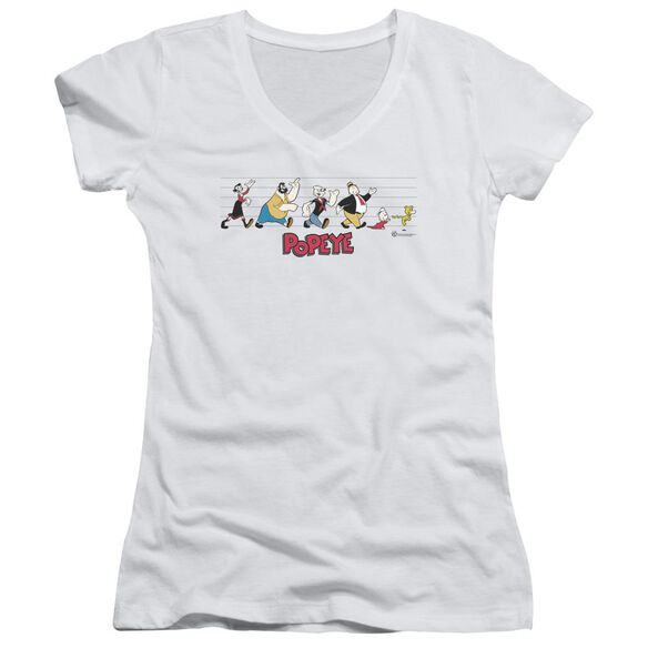 Popeye The Usual Suspects - Junior V-neck - White
