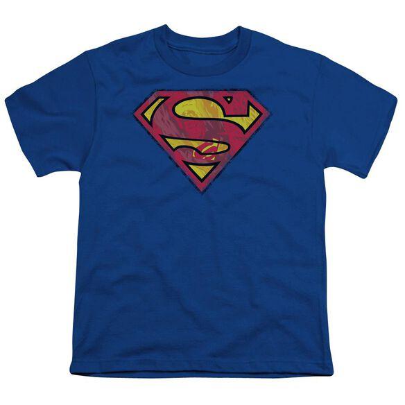 SUPERMAN ACTION SHIELD - S/S YOUTH 18/1 - ROYAL BLUE T-Shirt