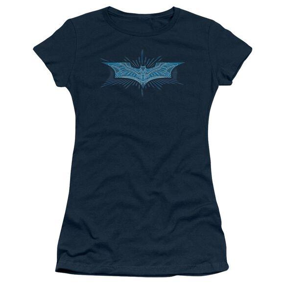 Dark Knight Bat Armor Logo Short Sleeve Junior Sheer T-Shirt