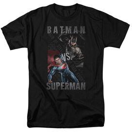 Batman Vs Superman Hero Split Short Sleeve Adult Black T-Shirt