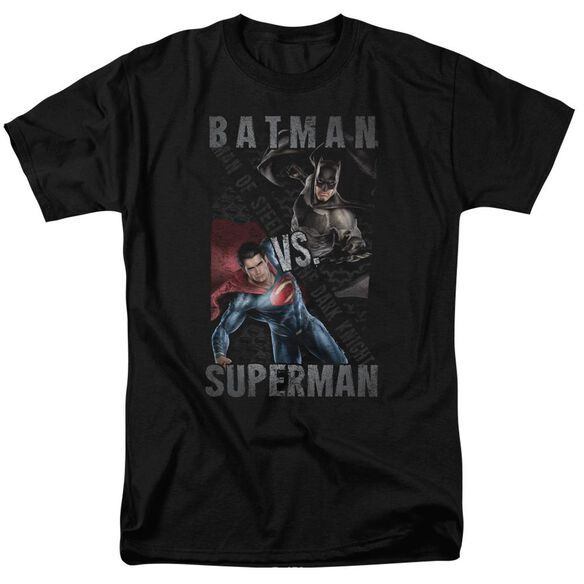 Batman Vs Superman Hero Split Short Sleeve Adult Black T-Shirt