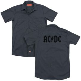 Acdc Worn Logo (Back Print) Adult Work Shirt
