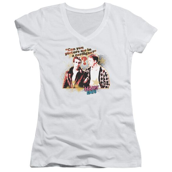 Happy Days No Cardigans Junior V Neck T-Shirt
