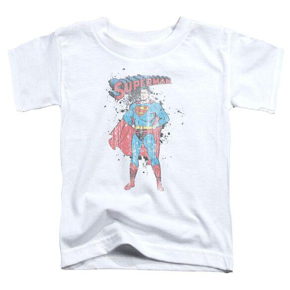 Superman Vintage Ink Splatter Short Sleeve Toddler Tee White Sm T-Shirt