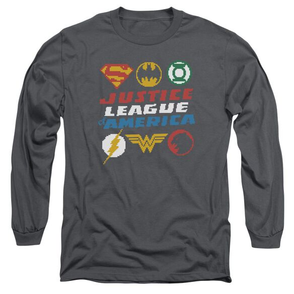 Jla Pixel Logos Long Sleeve Adult T-Shirt