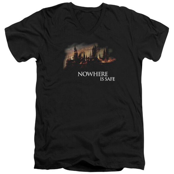 Harry Potter Burning Hogwarts Short Sleeve Adult V Neck T-Shirt