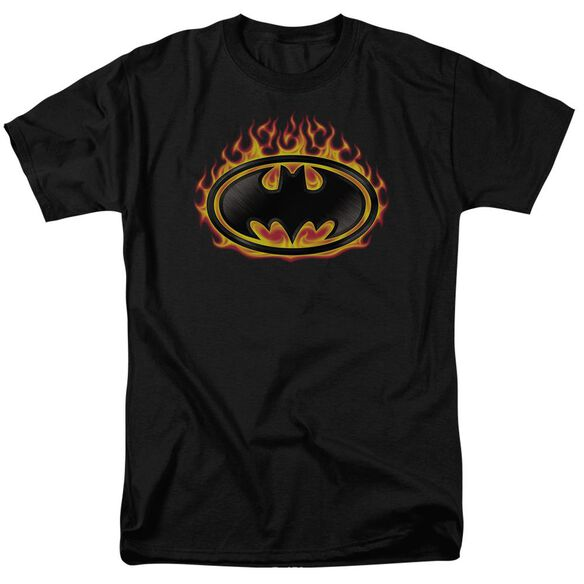 Batman Bat Flames Shield Short Sleeve Adult T-Shirt