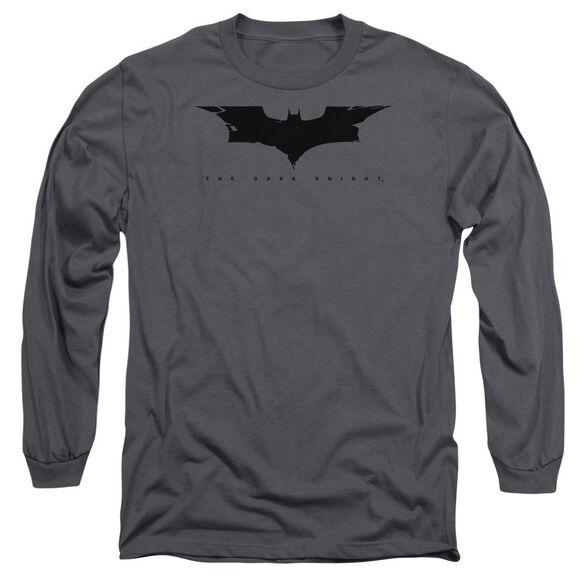Dark Knight Cracked Bat Logo Long Sleeve Adult T-Shirt