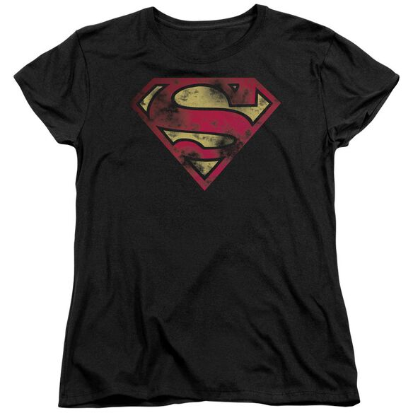 Superman War Torn Logo Short Sleeve Womens Tee T-Shirt