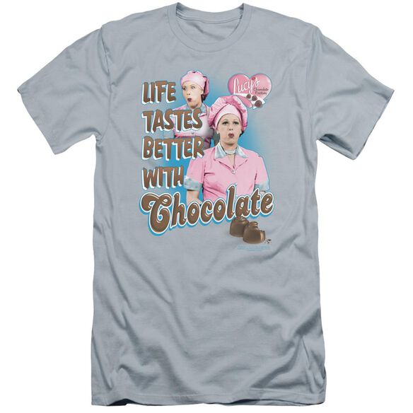 I Love Lucy Better With Chocolate Premuim Canvas Adult Slim Fit Light
