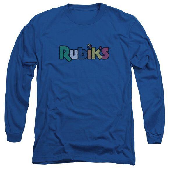 Rubiks Cube Smudge Logo Long Sleeve Adult Royal T-Shirt