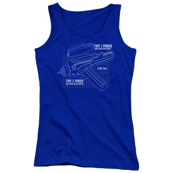 Star Trek Phaser Plans Juniors Tank Top Royal