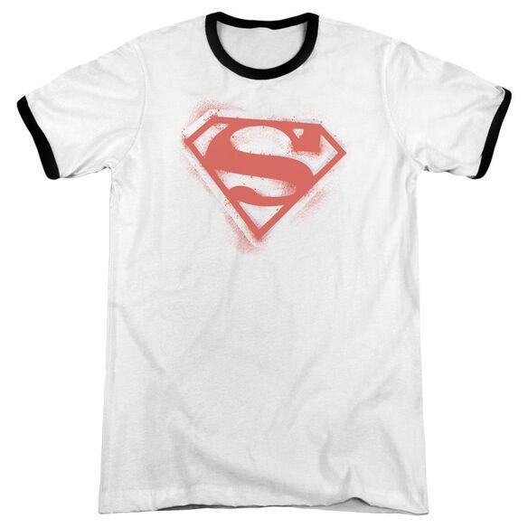 Superman Spray Paint Shield Adult Ringer White Black