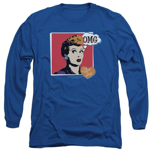 I Love Lucy I Love Worhol Omg Long Sleeve Adult Royal T-Shirt