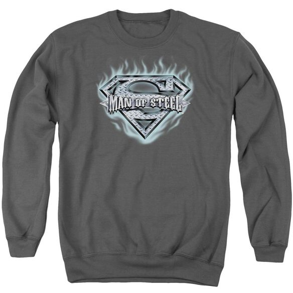 Superman Man Of Steel Shield Adult Crewneck Sweatshirt