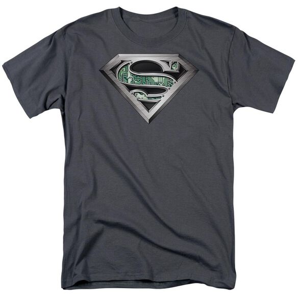 Superman Circuitry Logo Short Sleeve Adult Charcoal T-Shirt