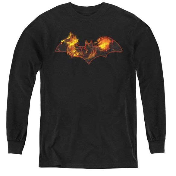 Batman Molten Logo - Youth Long Sleeve Tee - Black