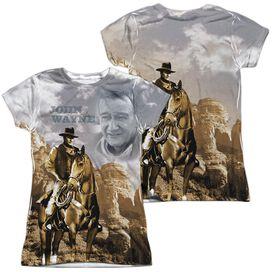 John Wayne Ride Em Cowboy (Front Back Print) Short Sleeve Junior Poly Crew T-Shirt