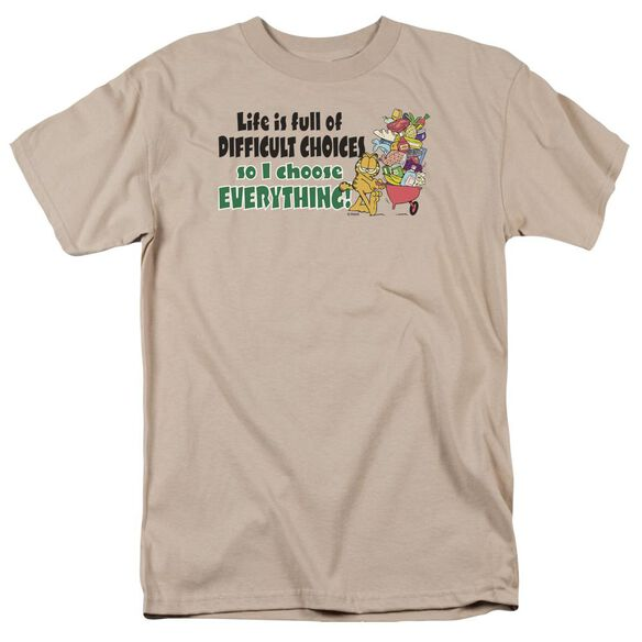 Garfield Difficult Choices Short Sleeve Adult Sand T-Shirt