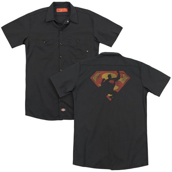 Superman S Shield Knockout(Back Print) Adult Work Shirt