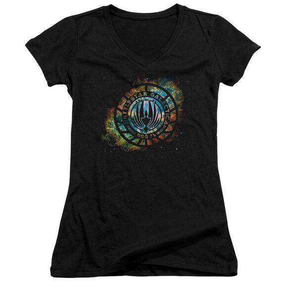 Battlestar Galactica (New) Emblem Knock Out Junior V Neck T-Shirt