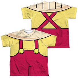 Family Guy Stewie Costume (Front Back Print) Short Sleeve Youth Poly Crew T-Shirt
