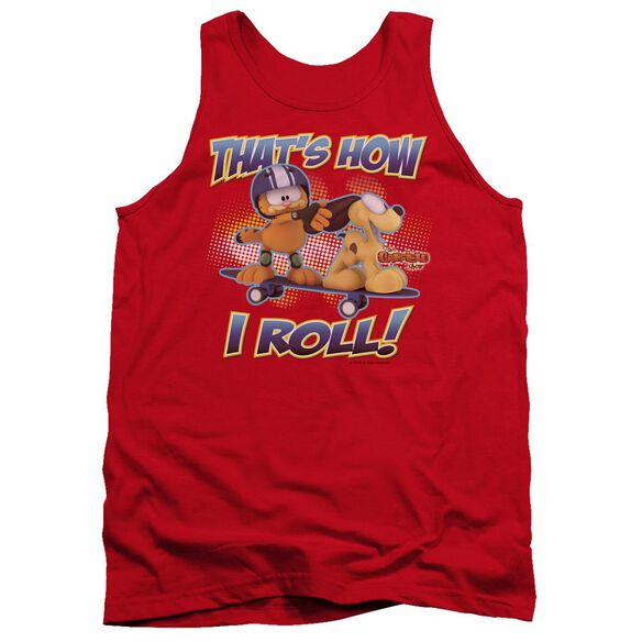 Garfield How I Roll - Adult Tank - Red