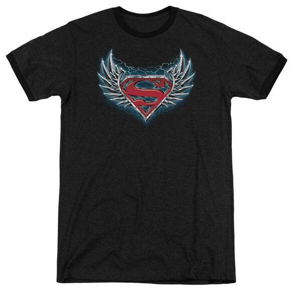 Superman Steel Wings Logo Adult Heather Ringer