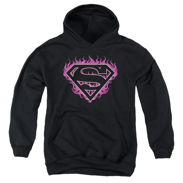 Superman Fuchsia Flames Youth Pull Over Hoodie