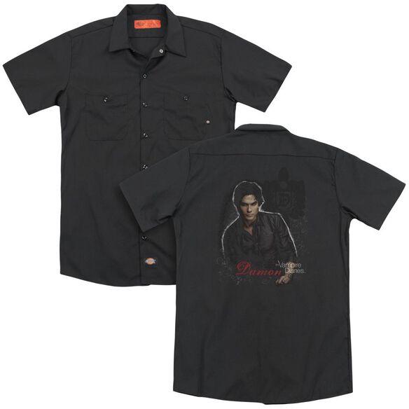 Vampire Diaries Damon (Back Print) Adult Work Shirt