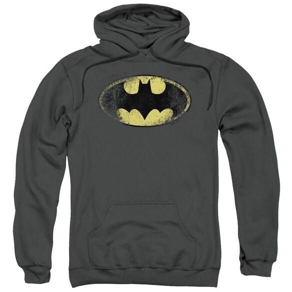 Batman Destroyed Logo Adult Pull Over Hoodie
