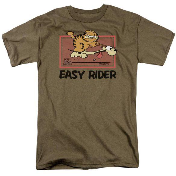 Garfield Vintage Easy Rider Short Sleeve Adult Safari Green T-Shirt