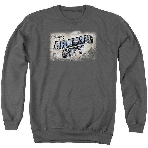 Arkham City Greetings From Arkham Adult Crewneck Sweatshirt