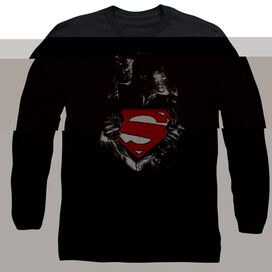 SUPERMAN DARKEST HOUR - L/S ADULT 18/1 - BLACK T-Shirt
