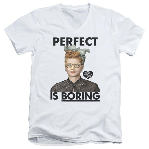 I Love Lucy Perfect Is Boring Short Sleeve Adult V Neck T-Shirt