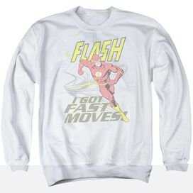 Dc Flash Fast Moves - Adult Crewneck Sweatshirt - White