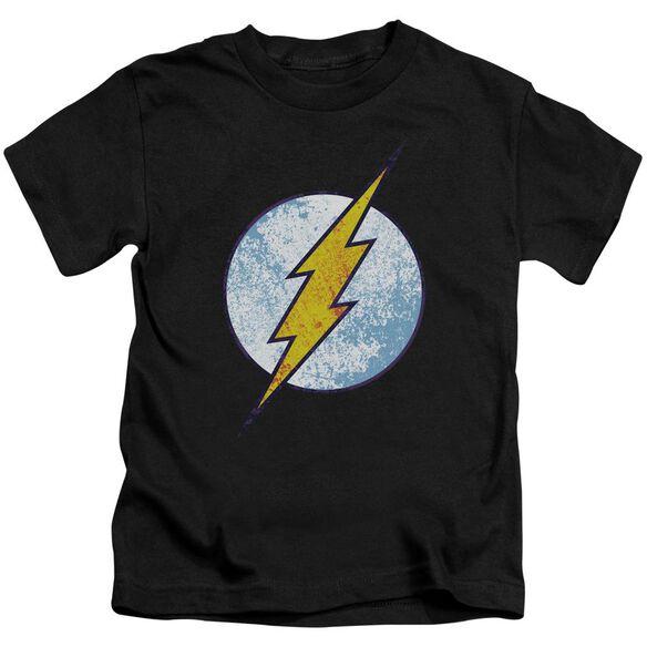 Dc Flash Flash Neon Distress Logo Short Sleeve Juvenile Black T-Shirt