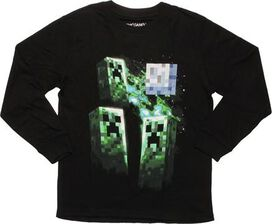 Minecraft Creeper Moon Long Sleeve Youth T-Shirt