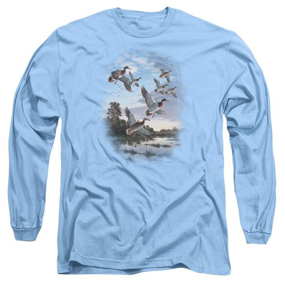 Wildlife Evening Flight Mallards Long Sleeve Adult Carolina T-Shirt