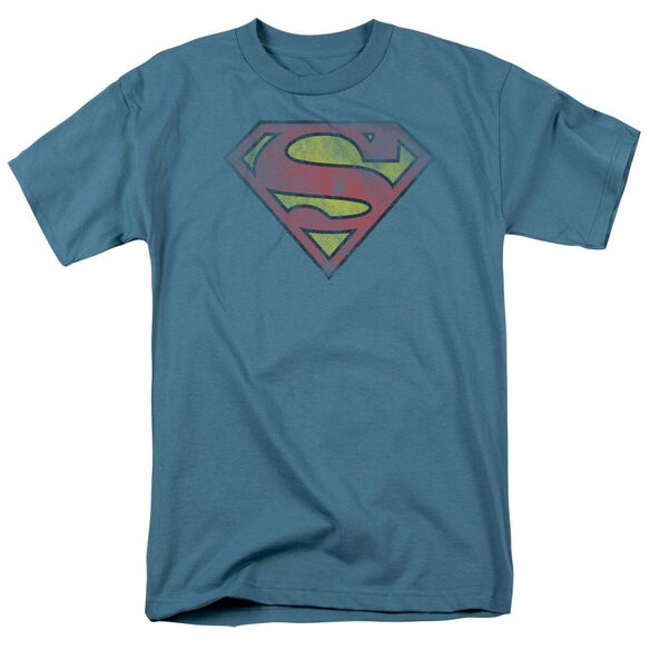 Superman Inside Shield Short Sleeve Adult Slate T-Shirt